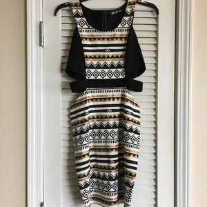 Hot & delicious Cut Out Waist Dress Black SZ M